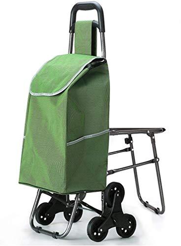 DSENIW QIDOFAN Trolley Con una silla, subir un carrito de compras, un viejo carrito de la compra, un carro pequeño, un carro, un carro plegable, una densidad portátil