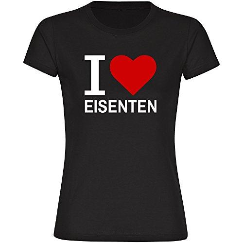 Damen T-Shirt Classic I Love Eisenten - schwarz - Größe S bis 2XL, Größe:XXL