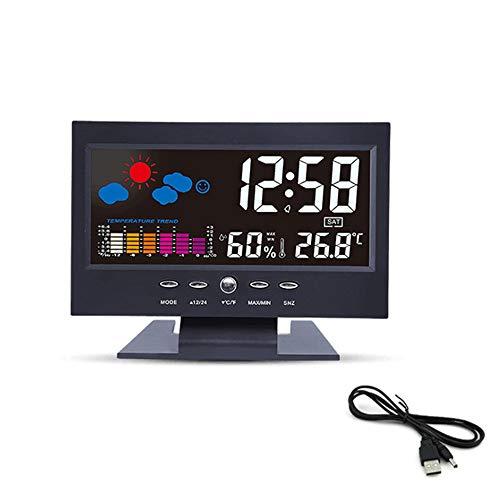SHR-GCHAO Reloj Despertador Digital, LED Digital Multifuncional Despertador De La Temperatura Y La Humedad De Meteorología del Reloj, para Dormitorios, Infantil, Sala