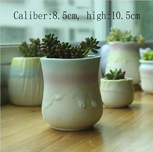 MNYHY Blumentopf Jugendstil Sukkulenten Regenbogen Topf Keramik Blumentöpfe Ice Cracker Pots / 8-Teiliges Set