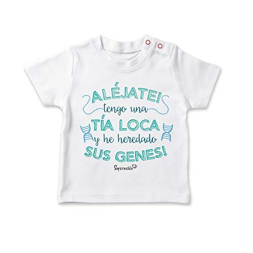 SUPERMOLON Camiseta bebé Tía loca Blanco 0-1 años