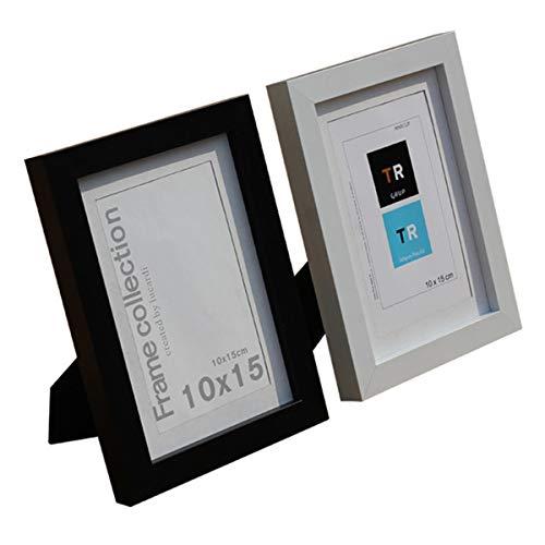 Marcos de Fotos,DBAILY 17,8 cm * 12,7 cm Marco para Fotos Blanco Negro para Decoración del Hogar Dormitorio Sala de Estar Cocina (2 piezas)