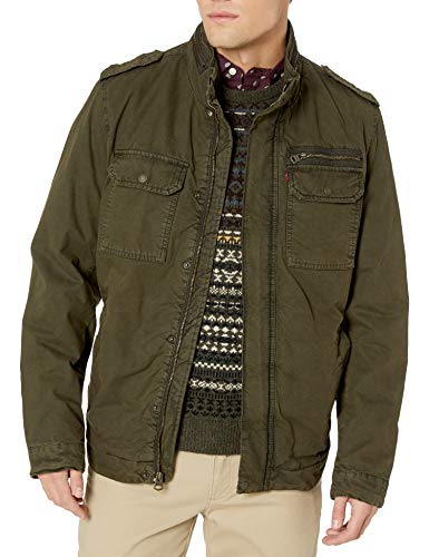 Levi's Men's Washed Cotton Two Pocket Sherpa Lined Military Jacket, Olive, Large