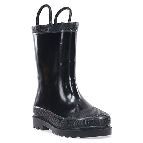 Western Chief Kids Waterproof Rubber Classic Rain Boot with Pull Handles, Black, 12 M US Little Kid