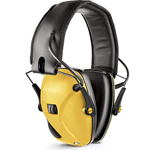 awesafe Electronic Shooting Earmuffs, Shooting Hearing Protection with Noise Reduction Sound Amplification (Yellow) Arizona