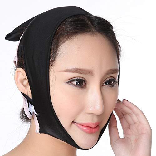 Gesicht Abnehmen Maske,Anti Falten V Gesicht Wange Kinn Anheben Band for Gesichtspflege Thin Neck Facelift Doppelkinn,Kreatives Geschenk for Sie (Color : Black, Size : XXL)