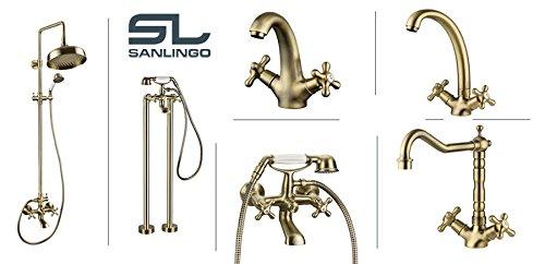 Sanlingo – Wannenarmatur in Retro/Vintage-Design, Kreuzgriffe, Porzellan-Brausegriff, Antik-Messing - 3