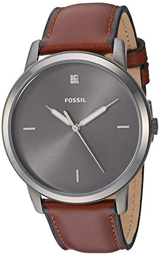 Fossil Men's Minimalist Carbon Series Stainless Steel Quartz Watch with Leather Strap, Amber Brown, 21.3 Model: FS5497