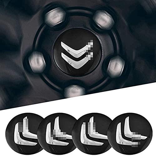 YANXS 4PCS Tapas Centrales para Llantas, Coche Wheel Centrales De Rueda Tapa del Cubo Decorativa Pegatinas Accesorios para Citroen C4 C5 C6 C8 C2 C3 C-Elysee AX Bx, 56mm