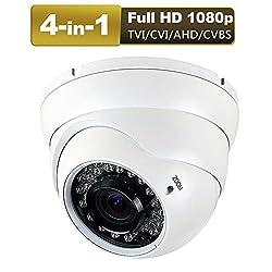 powerful 1080P 4-in-1 HD hybrid dome CCTV camera (TVI / AHD / CVI / CVBS), 2.8-12mm lens, varifocal, wide …