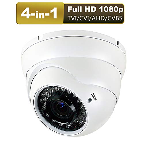Anpviz 1080P Hybrid 4-in-1 CCTV HD Security Dome Camera,(TVI/AHD/CVI/CVBS) 2.8-12mm Lens Varifocal Wide Viewing Angle Analog Surveillance CCTV Camera, Weatherproof Indoor/Outdoor Camera Waterproof