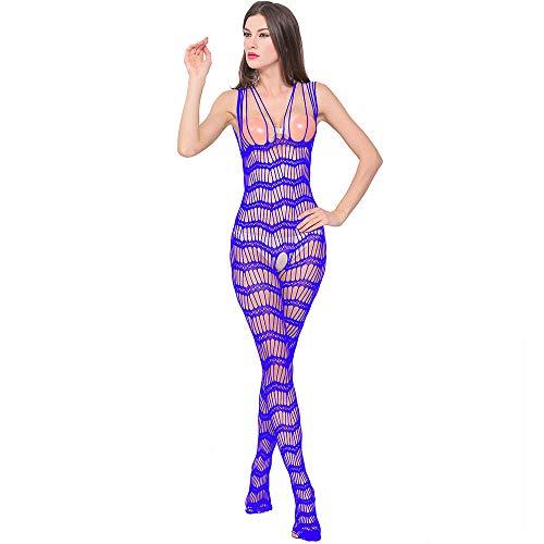 ODJOY-FAN Siamese Dessous Frau Öffnen Gabelung Perspektive Unterwäsche Schlafanzug Siamese Net Kleidung Schlinge Onesies Sexy Erotic Reizwäsche (Blau,1 PC)