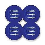 CARTAFFINI SRL Piatto Frutta, Decoro Blue Fish, in melamina - Ø 23 cm, H 2 cm - Set 4 Piatti - Colore: Blu/Bianco