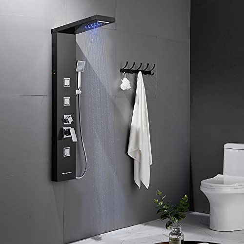 Auralum Edelstahl LED Duschpaneel Regendusche Schwarz, 5 Funktionen Duschsystem mit Handbrause, Massagedusche und Wasserfalldusche