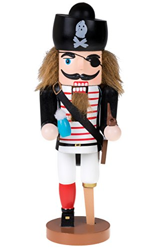 Clever Creations Traditional Wooden Pirate Nutcracker with Peg Leg Festive Holiday Décor | 10' Tall Perfect for Shelves and Tables | Ornate Details | Collectible 100% Wood Figurine