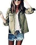 ORANDESIGNE Mujer Otoño Invierno Chaqueta Abrigo Militar Ropa De Calle Tops Moda Manga Larga Jackets Coats Casuales Verde ES 36