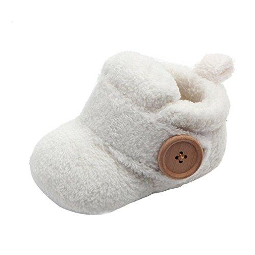 Baby-Stiefeletten, Fleece, für Kleinkinder, Lauflernschuhe, runde Zehen, flache Schuhe, weiche Hausschuhe, Weiß - weiß - Größe: 6-12 Monate