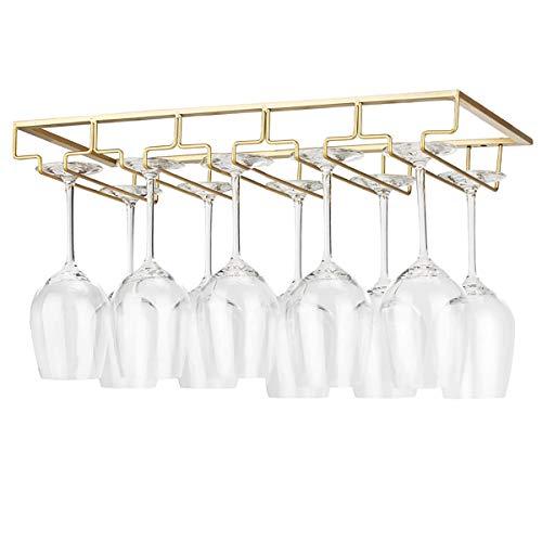 YunNasi Scolabicchieri Portabicchieri Supporto per Calici di Vino Mantieni i Bicchieri Asciutti sotto Mobile con Viti per Bar Ristorante Cucina (5 binari, Oro)