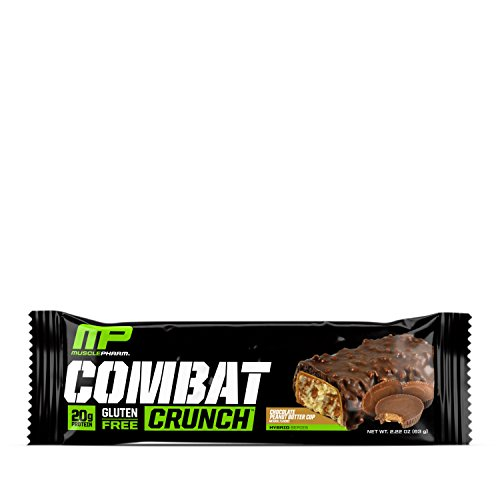 MusclePharm Combat Crunch Protein Bar, Multi-Layered Baked Bar, Gluten-Free Bars, 20 g Protein, Low-Sugar, Low-Carb, Gluten-Free, Chocolate Peanut Butt   er Cup Bars, 12 Servings