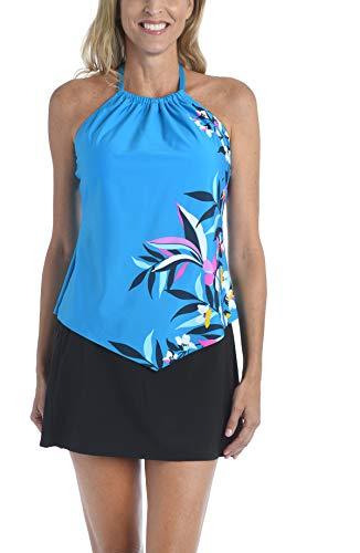24th & Ocean Women's High Neck Halter Handkerchief Tankini Swimsuit Top, Teal//Tropical Hideaway, XXL