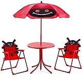 RELAX4LIFE Sitzgruppe für Kinder, Sitzgarnitur für Outdoor Garten, Gartengarnitur mit Sonnenschirm, Kindermöbel Marienkäfer, Kindertisch mit 2 Kinderstühlen, Klappbare Sitzgruppe, Gartengarnitur Rot