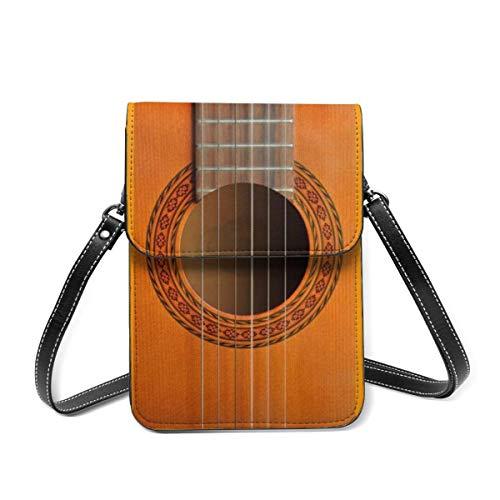Bolso de hombro pequeño, diseño de roseta de guitarra clásica, bolsa cruzada para teléfono celular, cartera ligera para mujeres y niñas