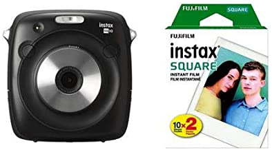 Fujifilm instax Square SQ10 Hybrid Instant Camera Black instax Square Instant Color Film, Twin Pack