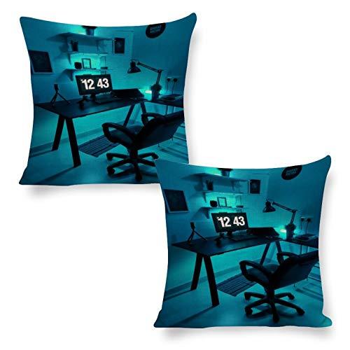 DKE&YMQ Funda de almohada de algodón y cáñamo, 2, iluminación de la habitación, dispositivo de visualización de la mesa de diseño interior