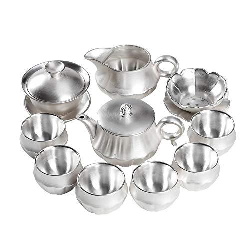ZHQHYQHHX - Juego de té de plata de ley 999, diseño de familia de Kung Fu de té, taza de té, tetera hecha a mano, color plateado