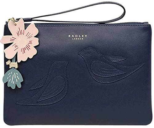 RADLEY Dark Blue Bow Hill Small Zip Top Clutch Bag