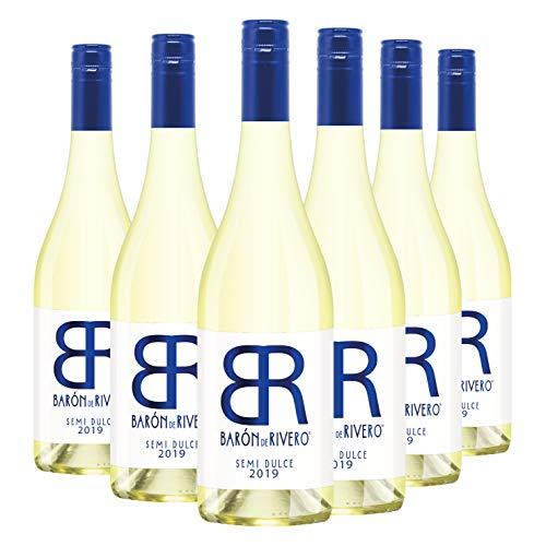 Barón de Rivero Semi Dulce - Pack 6 botellas de 75 cl - Vino blanco semidulce moscatel