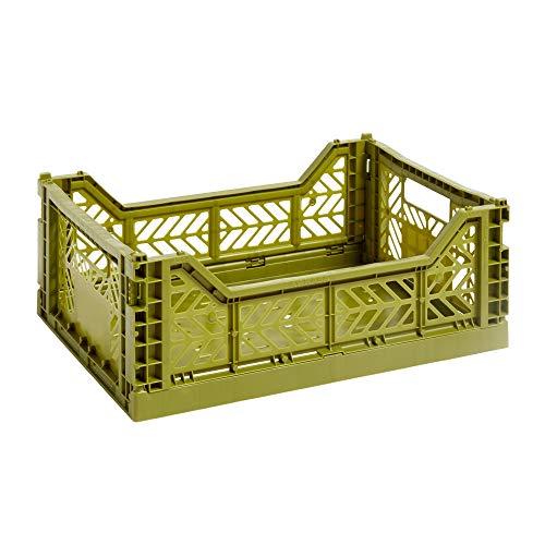HAY Colour Crate M, Transportbox, Oliv/Polypropylen/Faltbar, Höhe: 14,5 cm, Tiefe: 30 cm, Länge: 40 cm, 507675