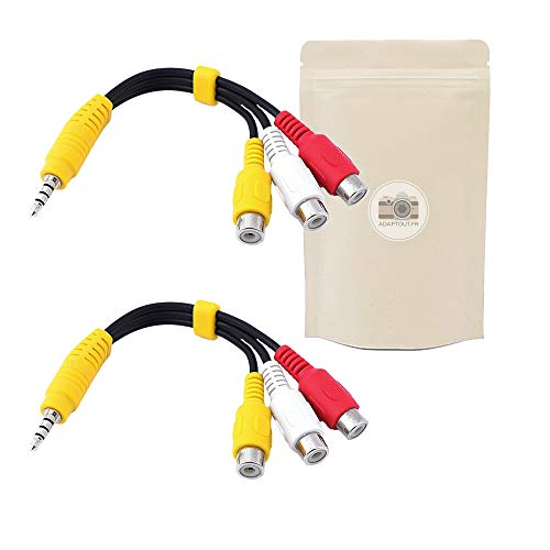 2x Adaptador Mini Jack 3.5mm Hembra a 2 RCA Macho Coaxial Cable Audio 40 cm