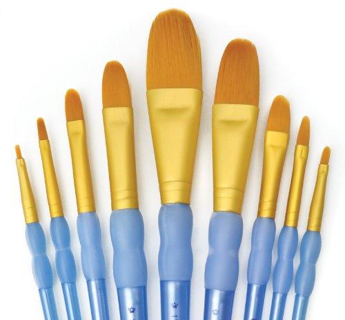 Royal & Langnickel Crafter's Choice - Juego de pinceles de fibra de taklon (9 unidades, punta de lengua de gato y wash)