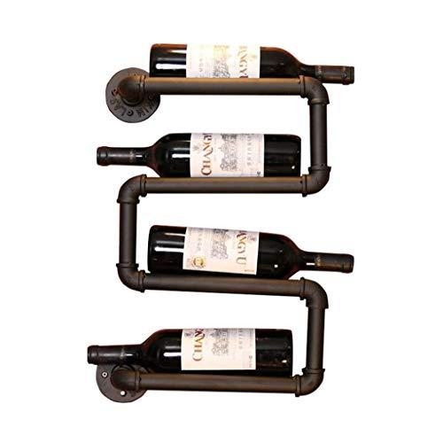 Talleres de vino de la vendimia Soporte de la botella de pared Barra de metal |Soporte de vino rústico Montado en la pared |Organizador de almacenamiento de estantes flotantes |Diseño de decoración in