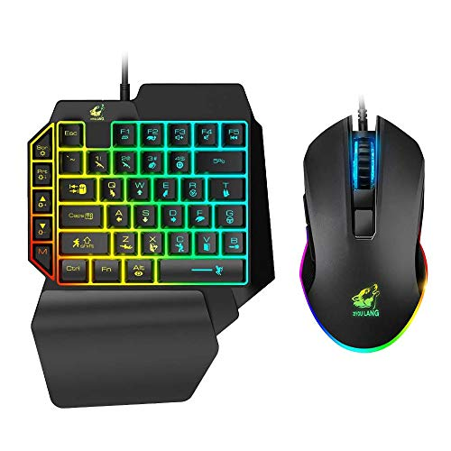 Combo tastiera e mouse da gioco UrChoiceLtd, cablato 39 tasti Meccanico con retroilluminazione arcobaleno con poggiapolsi per PC/Xbox/PS4 Mini tastiera portatile a una mano e mouse da gioco RGB (nero)