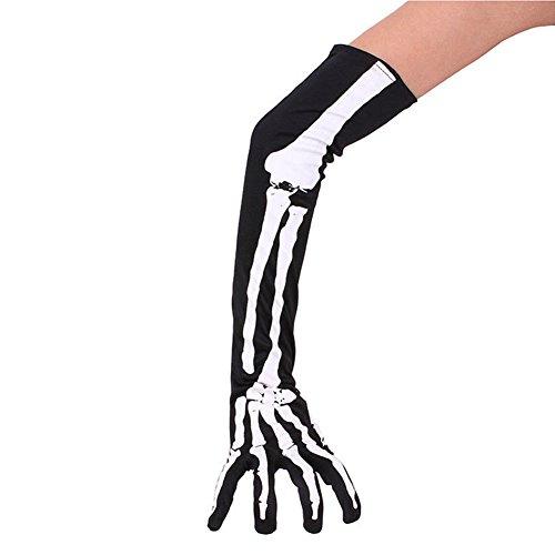 Halloween Skeleton Gloves Cosplay Costume Party Long Arm Full Finger Gloves Halloween Costumes 1 Pair