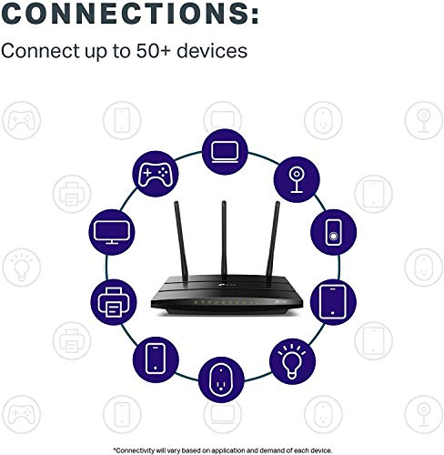 TP-Link Archer C7 Dualband Gigabit WLAN-Router (1300Mbit/s (5GHz) + 450Mbit/s (2,4GHz), 1750Mbps, 5 Gigabit LAN Port, 1 USB 2.0 Ports) schwarz