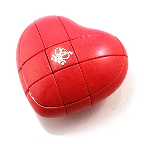 EasyGame YJ 3x3x3 Rojo Cubo de corazón Mod Rompecabezas del Rompecabezas del Cubo 3x3 Chueco Smooth de Juego fácil