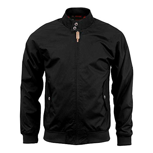 Mens Harrington Jacket Classic Water-Repellent Lightweight Vintage Outfit Coat (L, Black)