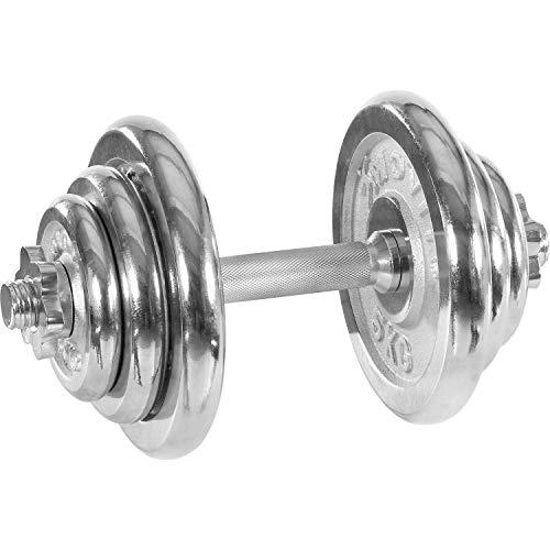 Movit® Kurzhantel PRO Set, Chrom Gusseisen Hantel, 20kg Stange 30mm Standardnorm, Griff gerändelt, Sternverschlüsse, Hantel Set Kurzhantelset Gewichte
