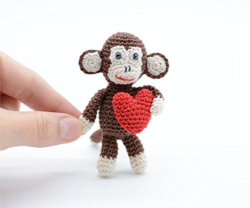 Plüsch Affe mit rotem Herz, braun häkeln Spielzeug, freches Geschenk