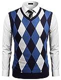 Coofandy Men's Casual Slim Fit V-neck Rhombus Business Knitwear Sweater Vest,Navy Blue,Medium
