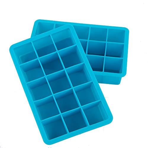 Webake 2 stuks IJsblokjesvorm siliconen 15-voudig ijsblokjes BPA-vrij ijsblokjesvorm 3 x 3 cm voor bier, cocktails, whisky, water, soda, fruit, pudding of babyvoeding