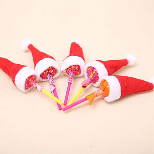 20 Mini Christmas Santa Hat Lollipop Holders. Delightful Christmas Decor, Holiday Treat, Stocking Stuffers or Christmas Party Favors Quality Materials with Attractive Colors & Construction. Reusable Every Year (Lollipops are not included)