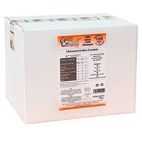 DULCILIGHT RIET HONING MORENO NATUURLIJKE GEGRANINEERDE ZOETER van hele rietsuiker met de smaak van bruine suiker of panela 1000 + 200 TOTAAL 1200 Enveloppen, Premium Gourmet Product