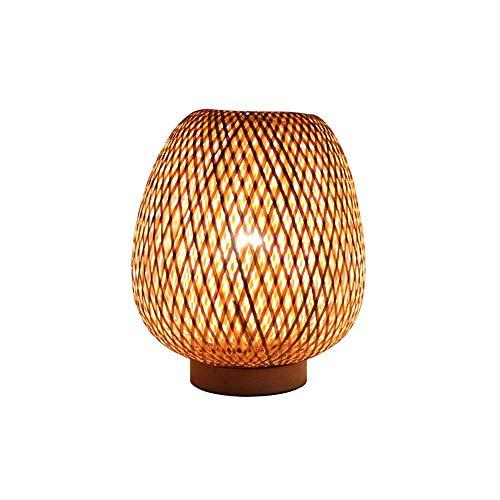D-JIU Retro-Stil Laterne Tischlampe, Bambus Lampenschirm, Schlafzimmer Wohnzimmer Schreibtischlampe Nachttischlampe Teehaus Esszimmer Bambuslampe