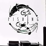 supmsds Vinyle Autocollant Mural Canne à pêche Magasin Grenouille pêcheur Poisson Autocollant Boutique fenêtre Chambre décor Salon Art Design 61X57CM