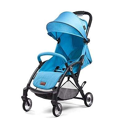 JDK Sillas de Paseo High View Sillas de Paseo Cochecito de bebé Light Baby Cart Sit Lie Baby Baby Trolley (Color: Azul)