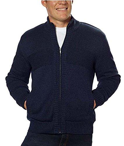 Boston Traders Men's Knit Sherpa Lined Full Zip Sweater Jacket Navy (M)